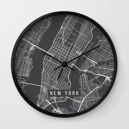 New York City Map, Manhattan New York USA - Charcoal Portrait Wall Clock
