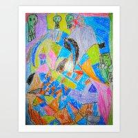 Chip Art with Skulls Art Print