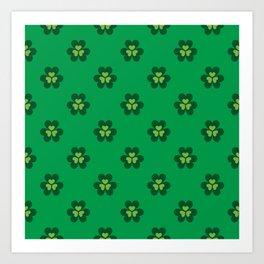 Saint Patrick Shamrock Clove Green Seamless Pattern Art Print