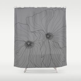 Line Drawing of Poppy Shower Curtain