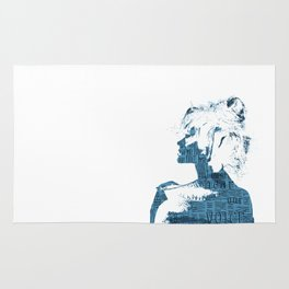 HEAR OUR VOICE - blue and white Rug