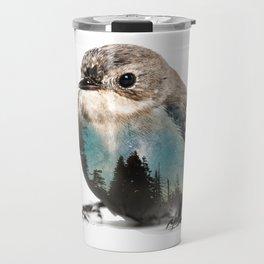 Bird Double Exposure Travel Mug