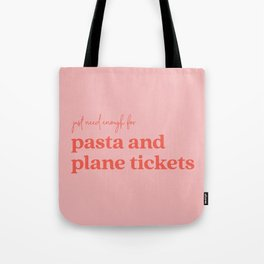 Pasta and Plane Tickets - Red and Pink Tote Bag