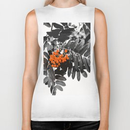 Red Rowan Berries In Black And White Background #decor #society6 Biker Tank