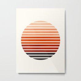 Burnt Sienna Mid Century Modern Minimalist Scandinavian Colorful Stripes Geometric Pattern Round Cir Metal Print