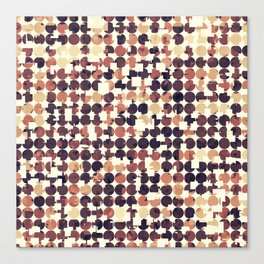 geometric square and circle pattern abstract in brown Canvas Print