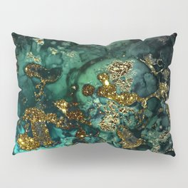 Gold Indigo Malachite Marble Pillow Sham