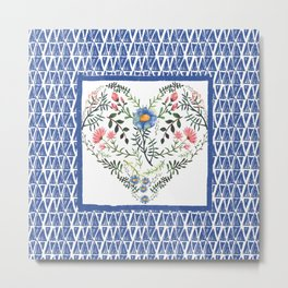 Floral Heart and Pattern Metal Print