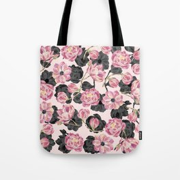 Girly Blush Pink and Black Watercolor Flowers Tote Bag