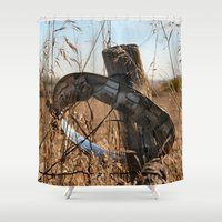 ufo Shower Curtains featuring UFO by IowaShots