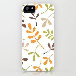 Assorted Leaf Silhouettes Retro Colors iPhone Case