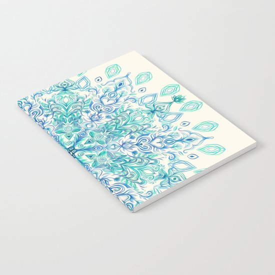 Peppermint Snowflake on Cream Notebook