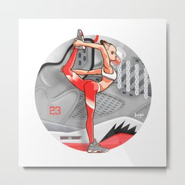 "Yoga girl CoolNoodle and ""Hot LAVA"" Metal Print"