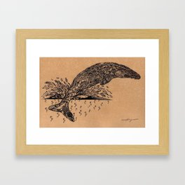 rubbish whale coffee ink Framed Art Print