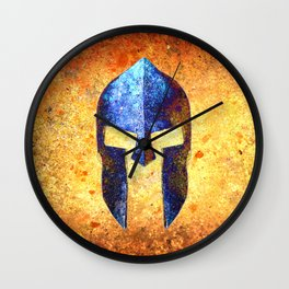 Blue Spartan Helmet On Rust Background - Molon Labe Wall Clock