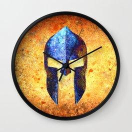 Blue Spartan Helmet On Rust Background - Molon Labe Wall Clock