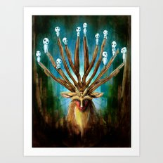 Princess Mononoke The Deer God Shishigami Tra Digital Painting. Art Print