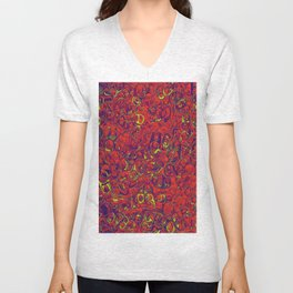 Ipad skins, Iphone, Computer, Canvas, Print, Red, Abstract, Funky Unisex V-Neck