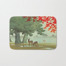 Vintage Japanese Woodblock Print Nara Park Deers Green Trees Red Japanese Maple Tree Bath Mat