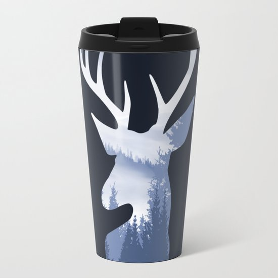 Deer Abstract Blue Landscape Design Travel Mug By