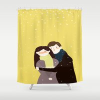 hug Shower Curtains featuring Hug  by wisdomspreader