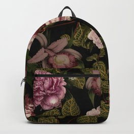 Vintage Exotic Botanical Midnight Peonies Garden Backpack