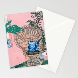Peacock Chair in Pink Jungle Interior Stationery Cards