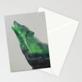 Wolf Howling In The Aurora Borealis Stationery Cards