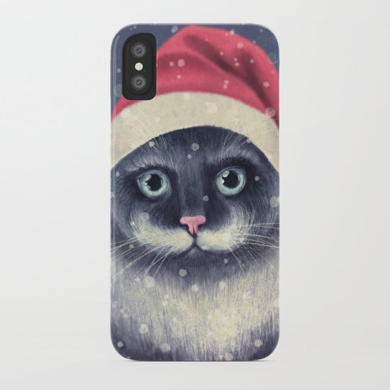 Christmas cat with a mustache iPhone Case