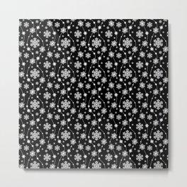 Festive Black and White Snowflake Pattern Metal Print