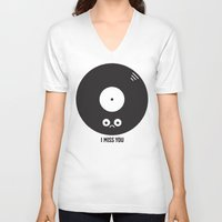 record V-neck T-shirts featuring For the Record by David Olenick