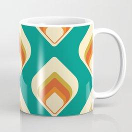 Mid-Century Modern Teal and Cream Tear Drop Coffee Mug