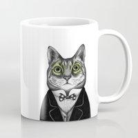 gentleman Mugs featuring Gentleman cat  by smallDrawing