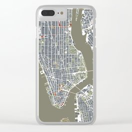 New York city map engraving Clear iPhone Case
