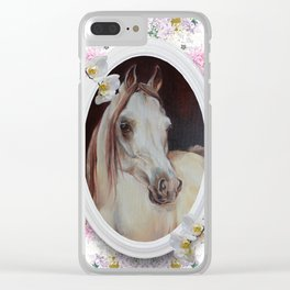 White orchids & Arabian mare Clear iPhone Case