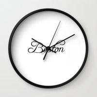 boston Wall Clocks featuring Boston by Blocks & Boroughs