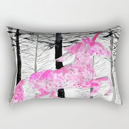 Pink unicorn in the wood Rectangular Pillow