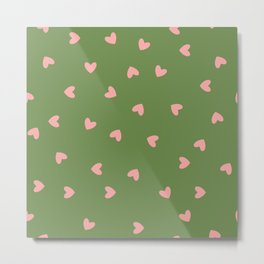 Pink Hearts on Green Background Metal Print