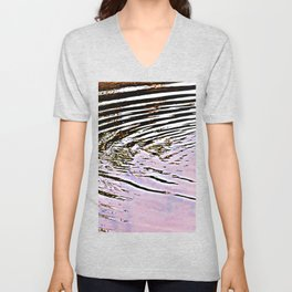 Pink Sky Reflected in Ripples Unisex V-Neck
