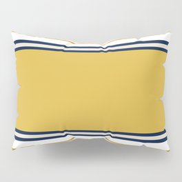 Wide and Thin Stripes Color Block Pattern in Mustard Yellow, Navy Blue, Champagne, and White Pillow Sham