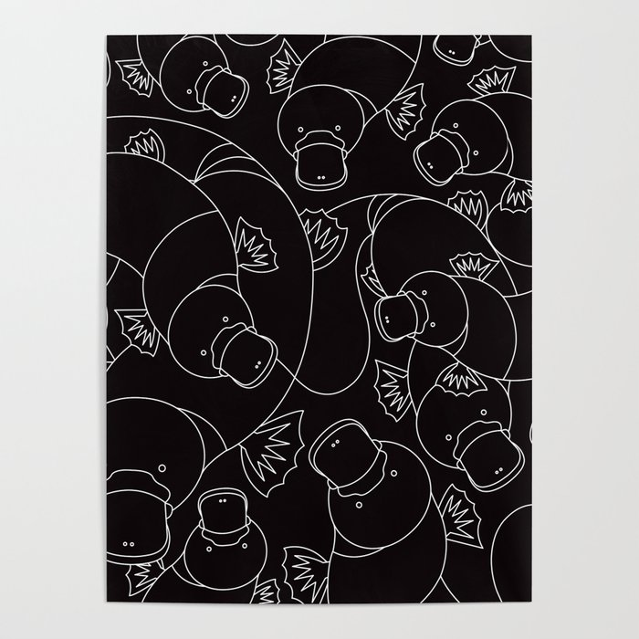 Minimalist Platypus Black and White Poster