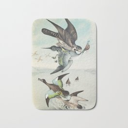 Plate VI Ornithology Birds Vintage Studies Duck, Falcon, Hawk, Teal American Bird Bath Mat