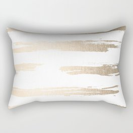 Simply Brushed Stripe White Gold Sands on White Rectangular Pillow