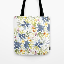Blue Watercolor Florals Tote Bag
