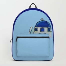 Hand Painted Watercolor Santorini Church Backpack