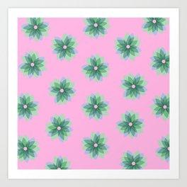 Geo Spring Flowers 03 Art Print