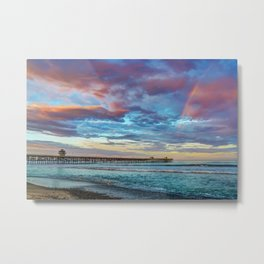 The Rainbow at the End of the Pier Metal Print