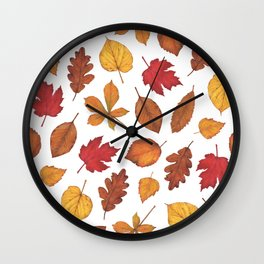 Autumn Leaves Watercolor Pattern | Fall Leaves | Autumn Foliage Design | Wall Clock