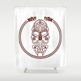 Knotted Viking Dragon Circle Shower Curtain