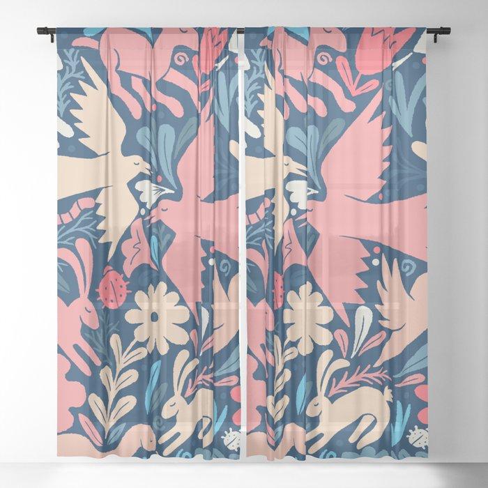 Nursery rhyme garden 002 Sheer Curtain